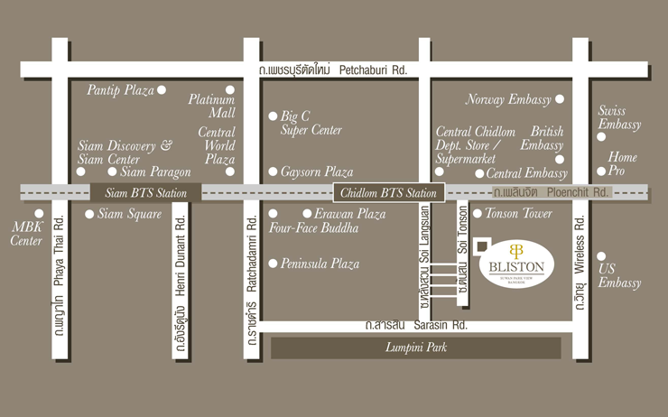 Map Bliston - Bangkok Serviced Apartment